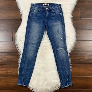 Amo Dive Bar Destroy Skinny Twist Zip Denim Jeans